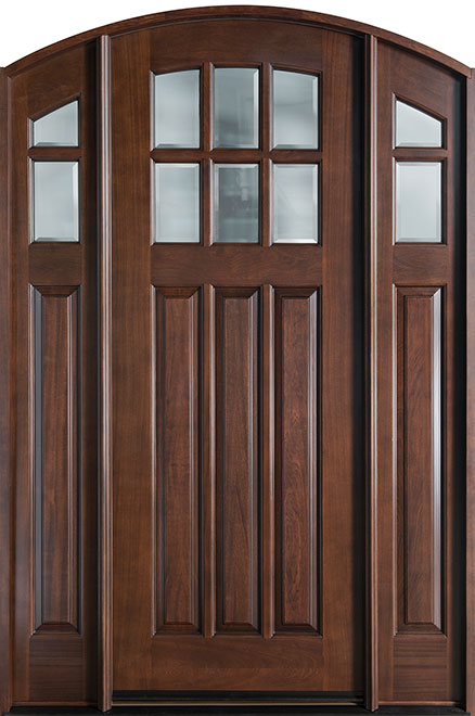 French Mahogany Wood Entry Door - Single with 2 Sidelites - DB-112A 2SL