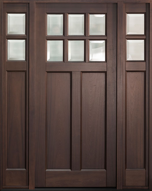 Classic Mahogany Wood Entry Door - Single with 2 Sidelites - DB-112PS 2SL
