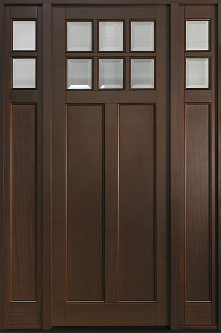 Classic Series Mahogany Wood Entry Door - Single with 2 Sidelites - DB-112PT 2SL