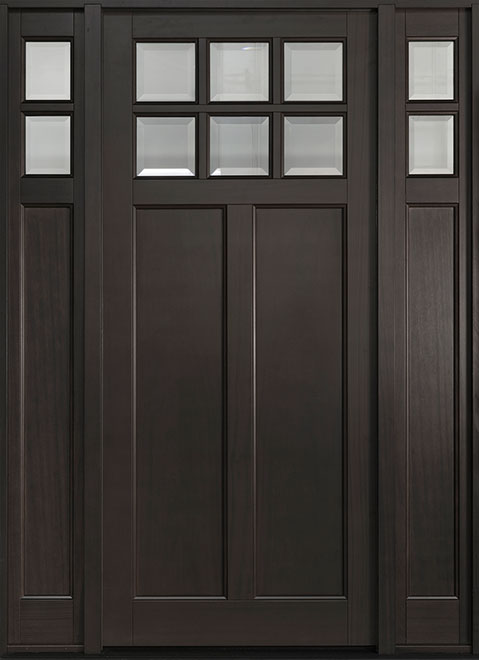 Classic Series Mahogany Wood Entry Door - Single with 2 Sidelites - DB-112PW 2SL