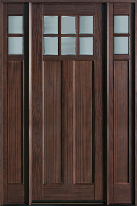Classic Mahogany Wood Entry Door - Single with 2 Sidelites - DB-112T 2SL
