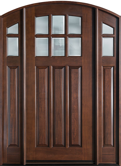 French Mahogany Wood Entry Door - Single with 2 Sidelites - DB-112WA 2SL