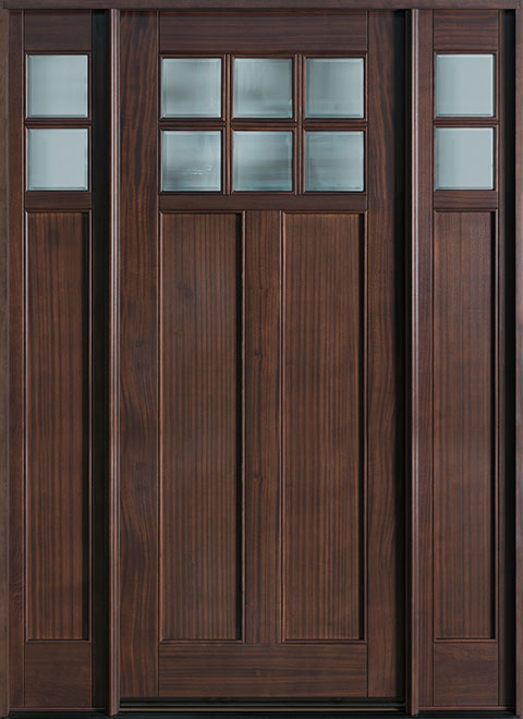 Classic Series Mahogany Wood Entry Door - Single with 2 Sidelites - DB-112W 2SL