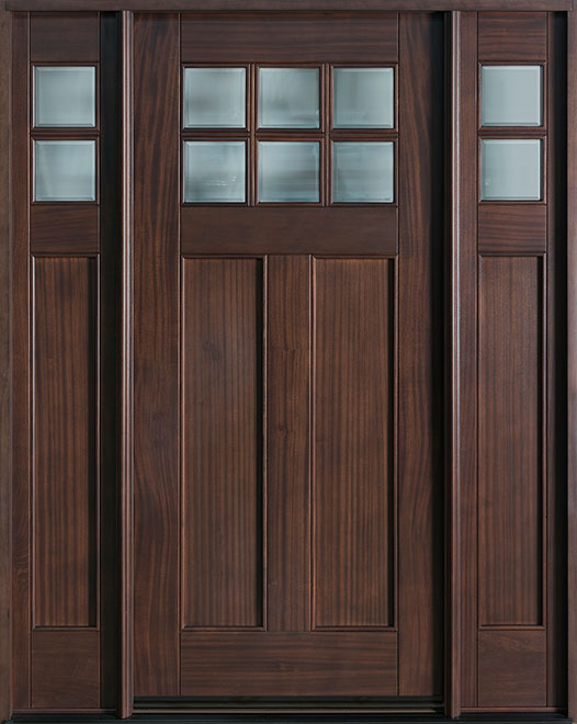 Craftsman Series Mahogany Wood Entry Door - Single with 2 Sidelites - DB-112 2SL