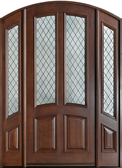 Classic Series Mahogany Wood Entry Door - Single with 2 Sidelites - DB-152WDG 2SL