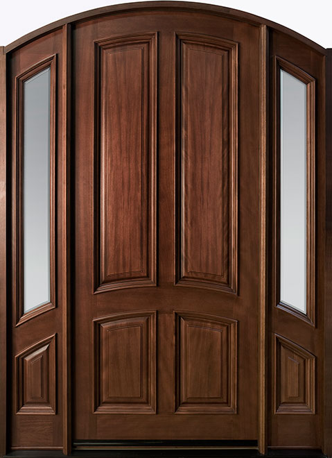 Classic Mahogany Wood Front Door - Single with 2 Sidelites - DB-152W 2SL CST