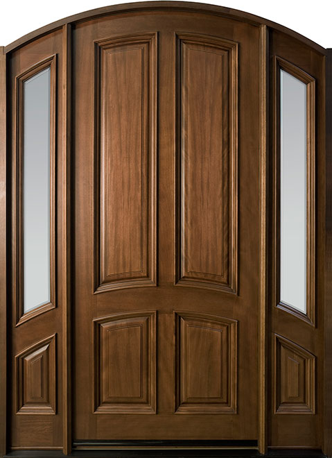 Classic Series Mahogany Wood Entry Door - Single with 2 Sidelites - DB-152W 2SL