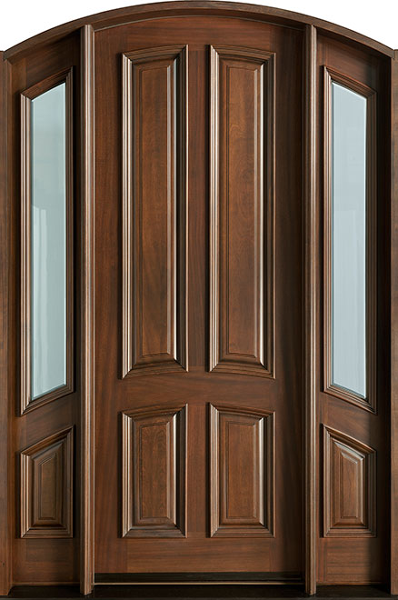 Classic Series Mahogany Wood Entry Door - Single with 2 Sidelites - DB-152 2SL