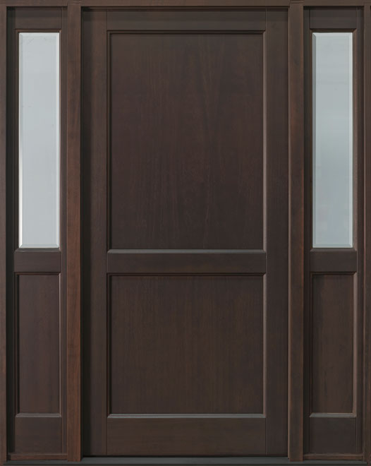 Classic Series Mahogany Wood Entry Door - Single with 2 Sidelites - DB-201PS 2SL
