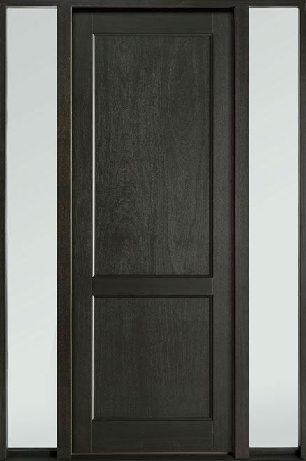Classic Series Mahogany Wood Entry Door - Single with 2 Sidelites - DB-201PT 2SL-F
