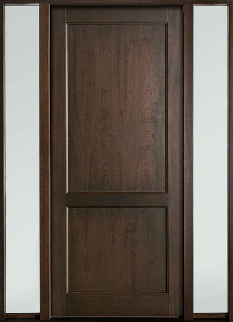 Classic Series Mahogany Wood Entry Door - Single with 2 Sidelites - DB-201PW 2SL-F