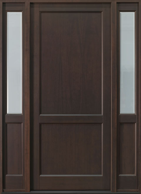 Classic Series Mahogany Wood Entry Door - Single with 2 Sidelites - DB-201PW 2SL