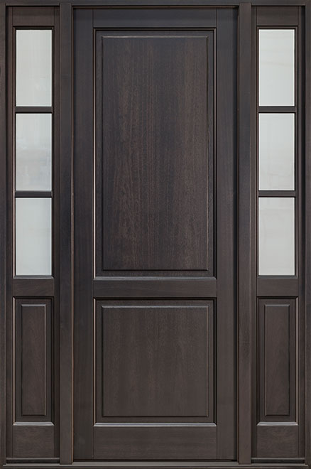 Classic Series Mahogany Wood Entry Door - Single with 2 Sidelites - DB-202PT 2SL