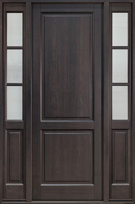 Classic Mahogany Wood Entry Door - Single with 2 Sidelites - DB-202PT 2SL