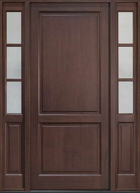 Classic Mahogany Wood Entry Door - Single with 2 Sidelites - DB-202PW 2SL