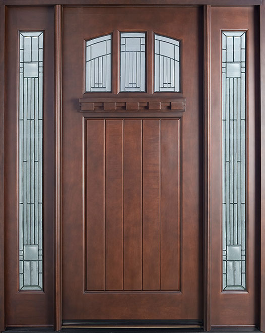 Craftsman Series Mahogany Wood Entry Door - Single with 2 Sidelites - DB-211S 2SL
