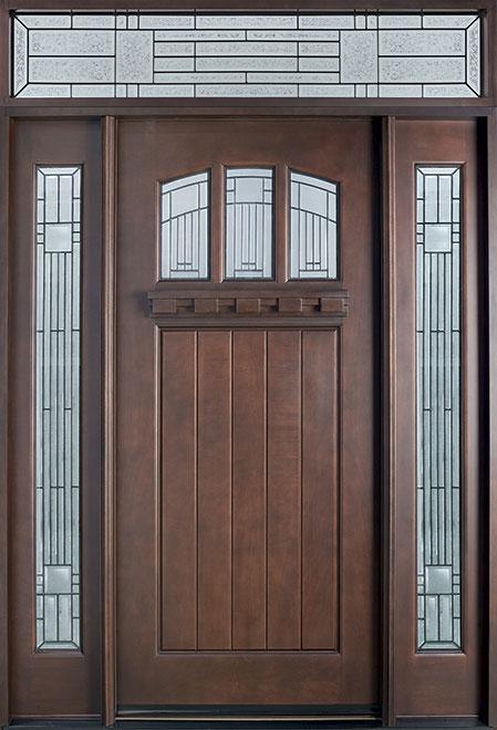 Craftsman Series Mahogany Wood Entry Door - Single with 2 Sidelites - DB-211S 2SL TR