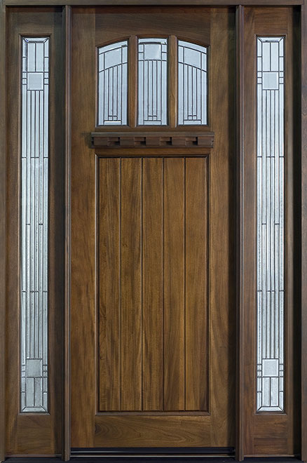 Craftsman Series Mahogany Wood Entry Door - Single with 2 Sidelites - DB-211T 2SL