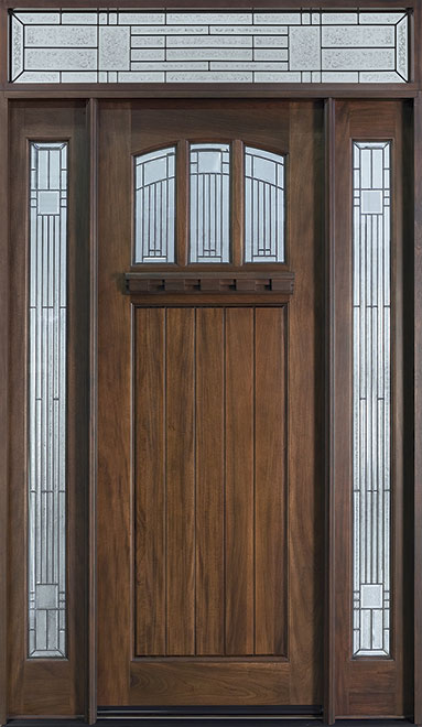 Craftsman Series Mahogany Wood Entry Door - Single with 2 Sidelites - DB-211T 2SL TR