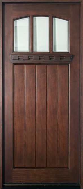 Craftsman Mahogany Wood Front Door - Single - DB-211W CST