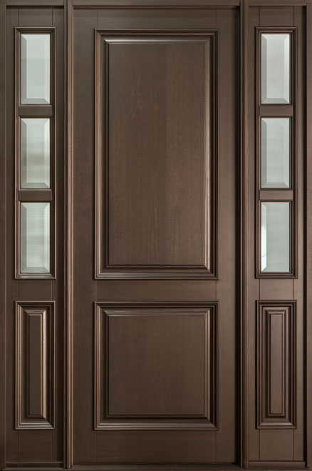 Classic Series Mahogany Wood Entry Door - Single with 2 Sidelites - DB-301PT 2SL