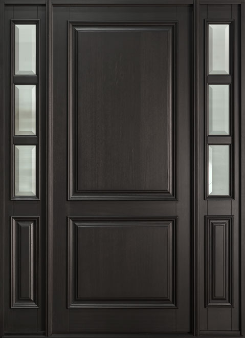 Classic Series Mahogany Wood Entry Door - Single with 2 Sidelites - DB-301PW 2SL