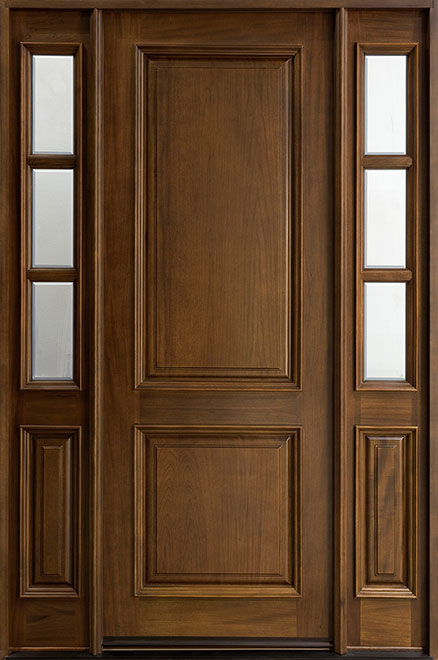 Classic Series Mahogany Wood Entry Door - Single with 2 Sidelites - DB-301T 2SL