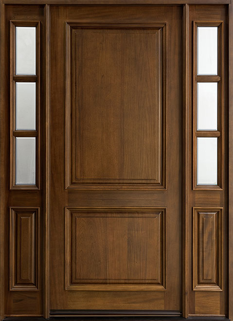 Classic Series Mahogany Wood Entry Door - Single with 2 Sidelites - DB-301W 2SL
