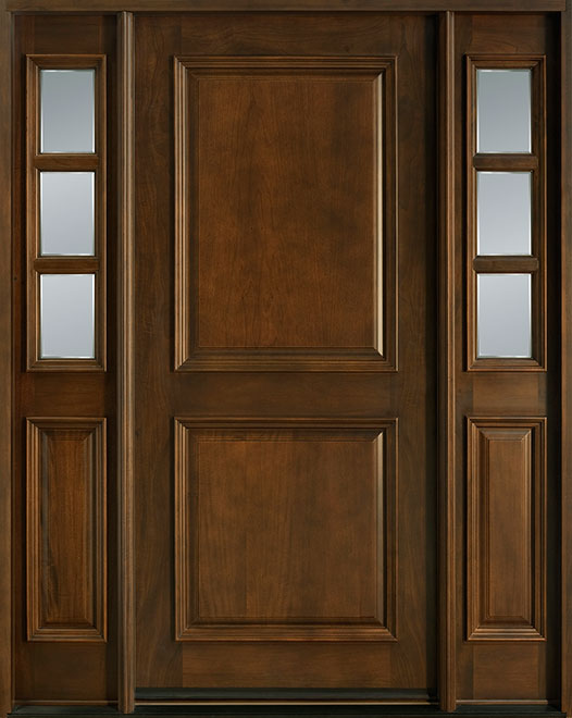 Classic Series Mahogany Wood Entry Door - Single with 2 Sidelites - DB-301 2SL