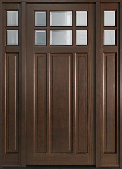 Classic Mahogany Wood Entry Door - Single with 2 Sidelites - DB-311PW 2SL