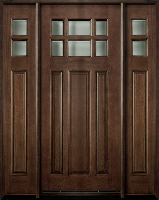 Classic Series Mahogany Wood Entry Door - Single with 2 Sidelites - DB-311 2SL