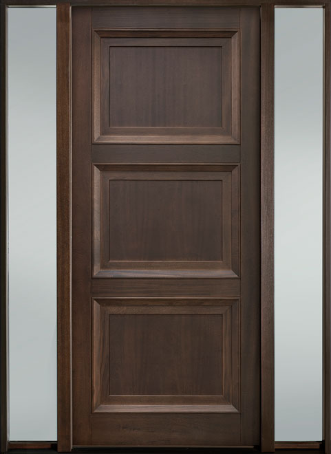 Classic Series Mahogany Wood Entry Door - Single with 2 Sidelites - DB-314PW 2SL-F