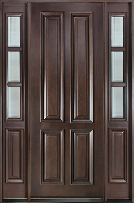 Classic Series Mahogany Wood Entry Door - Single with 2 Sidelites - DB-315T 2SL