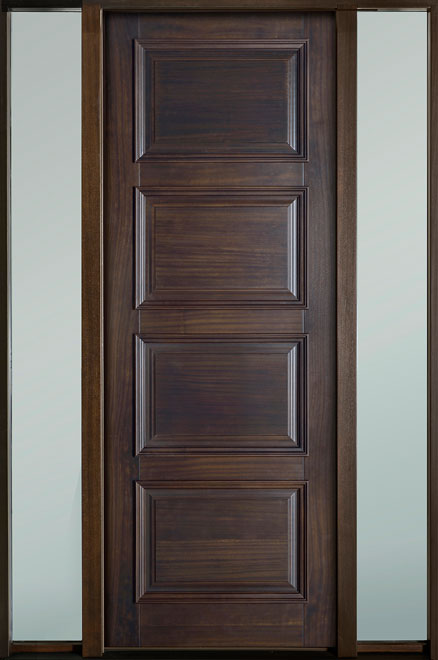 Classic Series Mahogany Wood Entry Door - Single with 2 Sidelites - DB-4000PT 2SL-F
