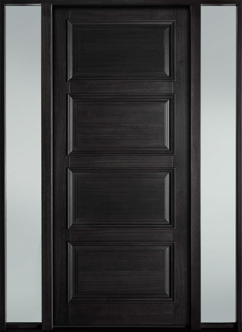Classic Series Mahogany Wood Entry Door - Single with 2 Sidelites - DB-4000PW 2SL-F