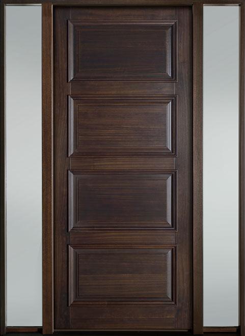 Classic Mahogany Wood Entry Door - Single with 2 Sidelites - DB-4000PW 2SL-F