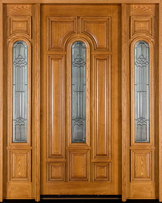 Classic  Ash Wood Front Door - Single with 2 Sidelites - DB-525 2SL CST