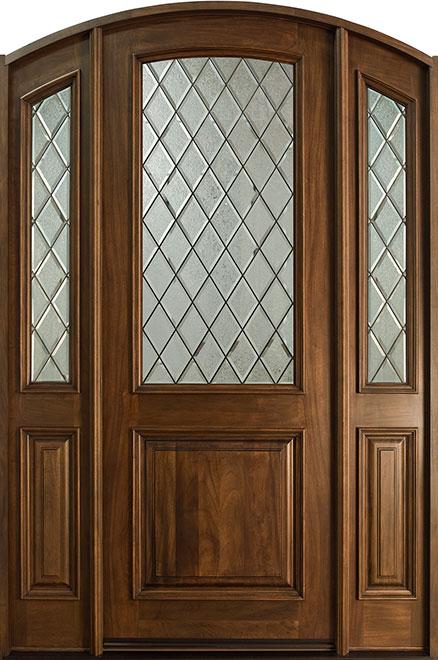 French Mahogany Wood Entry Door - Single with 2 Sidelites - DB-552DG 2SL