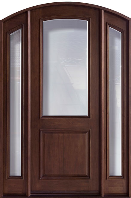 French Mahogany Wood Front Door - Single with 2 Sidelites - DB-552G 2SL CST