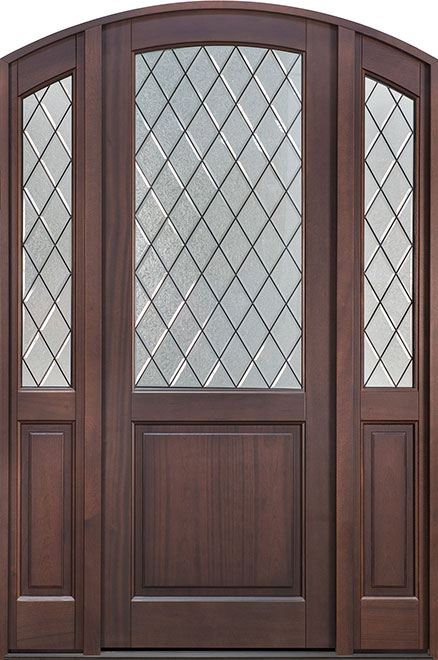 Classic Mahogany Wood Entry Door - Single with 2 Sidelites - DB-552PTDG 2SL