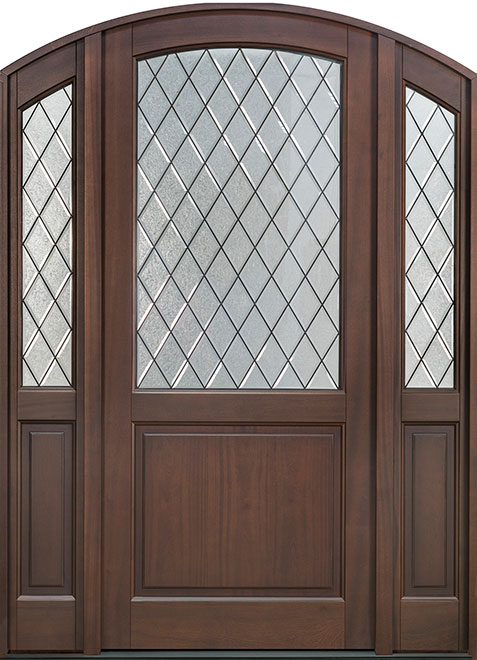 Classic Mahogany Wood Entry Door - Single with 2 Sidelites - DB-552PWDG 2SL