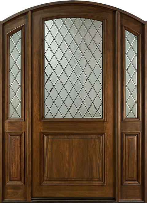French Mahogany Wood Entry Door - Single with 2 Sidelites - DB-552WDG 2SL