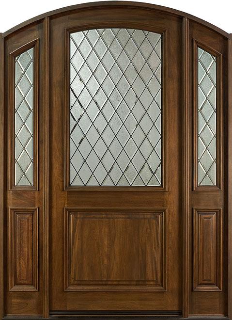 French Mahogany Wood Entry Door - Single with 2 Sidelites - DB-552WDG 2SL