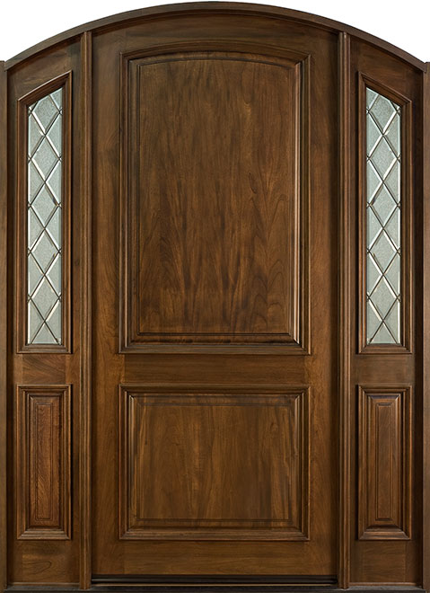 French Mahogany Wood Entry Door - Single with 2 Sidelites - DB-552WP 2SL