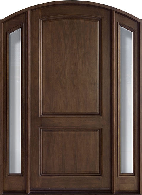 French Mahogany Wood Entry Door - Single with 2 Sidelites - DB-552W 2SL