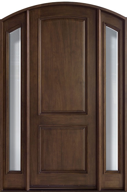 French Mahogany Wood Entry Door - Single with 2 Sidelites - DB-552 2SL
