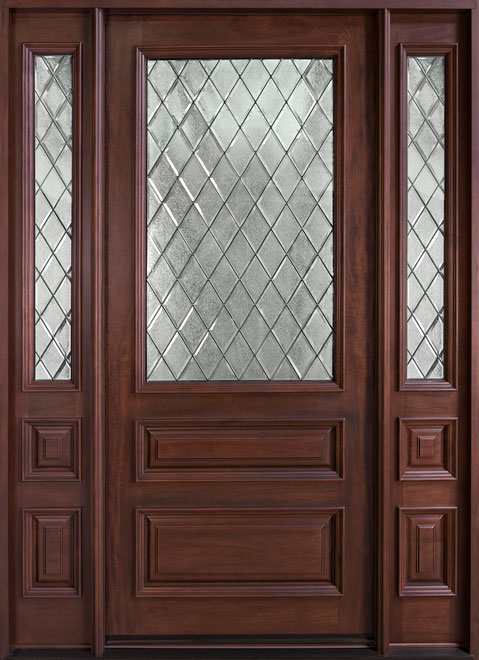 Classic Series Mahogany Wood Entry Door - Single with 2 Sidelites - DB-611WDG 2SL