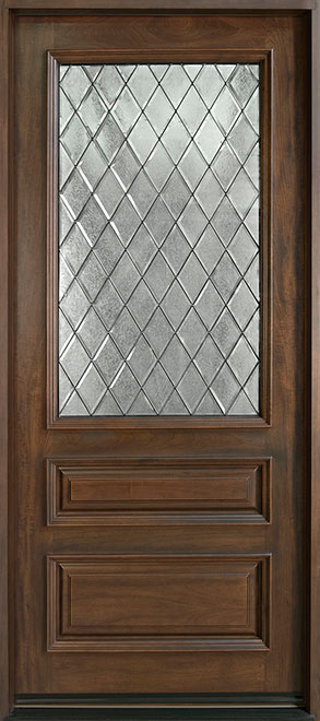 Classic Series Mahogany Wood Entry Door - Single - DB-611WDG