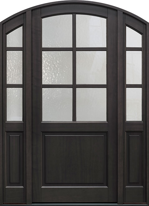 Classic Mahogany Wood Entry Door - Single with 2 Sidelites - DB-651PW 2SL