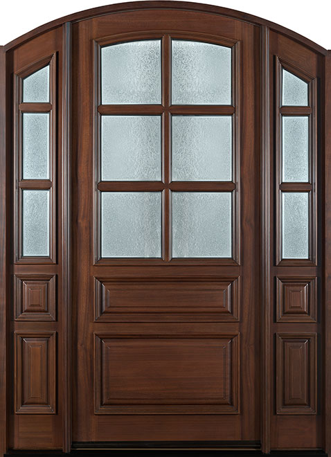 Classic Mahogany Wood Entry Door - Single with 2 Sidelites - DB-652W 2SL